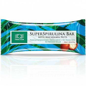 Батончик «СуперСпирулина Бар с орехом макадамия» (SuperSpirulina Bar with Macadamia Nuts)
